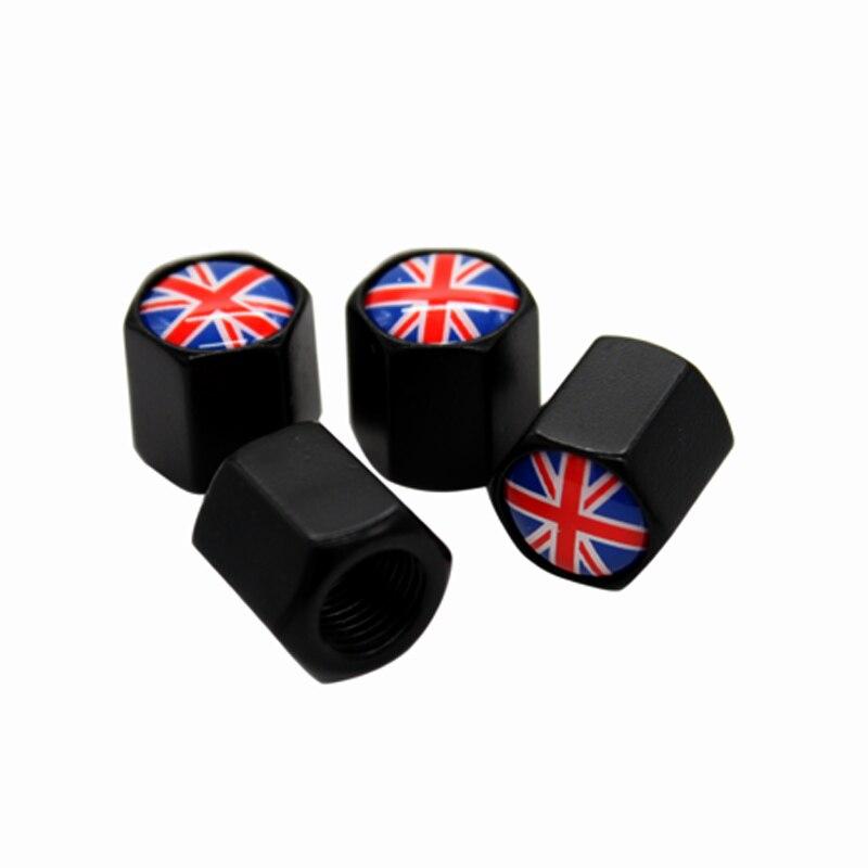 4pcs Black Car Badge Wheel Tire Valve Cap Uk England Flag Logo Car