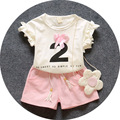 Summer of 2016 newborn baby girl clothing suit girls suit letters printed T-shirt + pants two sets of high-quality free shipping