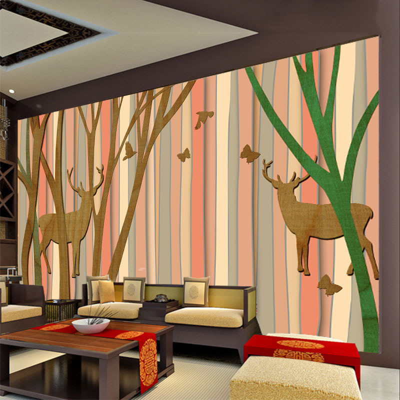 ShineHome-Cartoon Milu Deer in Forest Tree Wood Strip Wallpapers Mural Roll 3 d Wallpaper for Living Room Wall 3d House Decor free shipping 3d european style cartoon wall painting children room school amusement decoration forest deer wallpaper mural