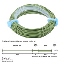 Maximumcatch Tropical Fly Line WF8F I Floating Intermediate Tip Sea Grass Clear 100FT Fly Fishing Line