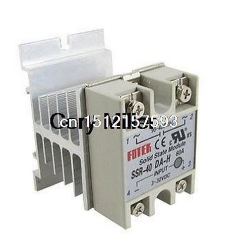 DC to AC Solid State Relay SSR 40A 3-32VDC 90-480VAC w Aluminum Heat Sink 1pc new solid state relay g3mb 202p dc ac pcb ssr in 12v dc out 240v ac 2a june xq s018y high quality
