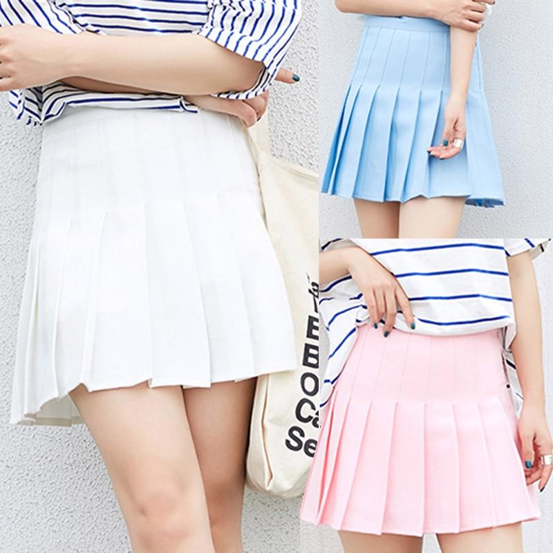 2018 High Waist Pleated skirts Harajuku girls A-line Mini Sailor Skirt Large Size Japanese school uniform Skirts