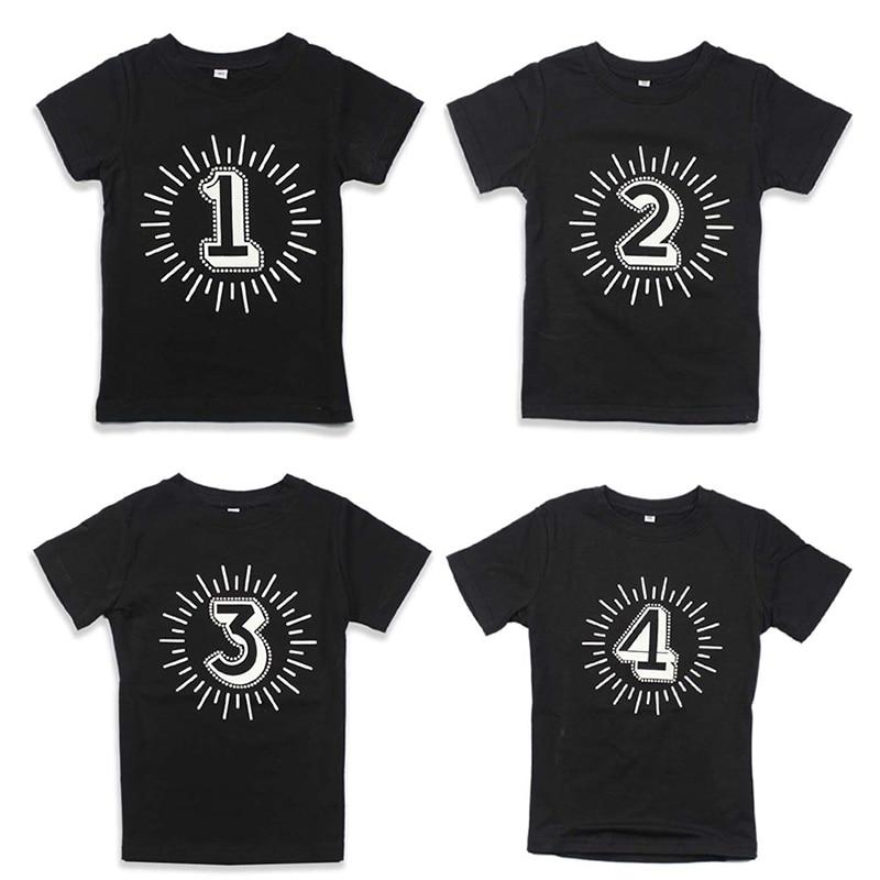 Tops Kids T-Shirts Toddler Girls Black Tees Short-Sleeves Boy Children's 1-2-3-4-Years