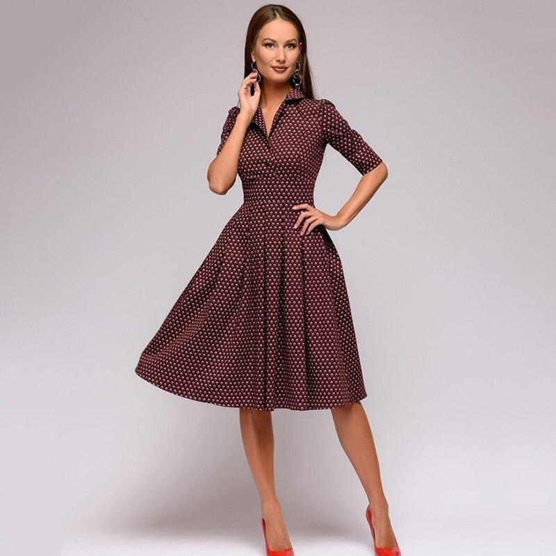 85e8e30963 New 2018 Vestidos Autumn Half Sleeve Shirt Dress Women Fashion Turn-Down  Collar Casual A