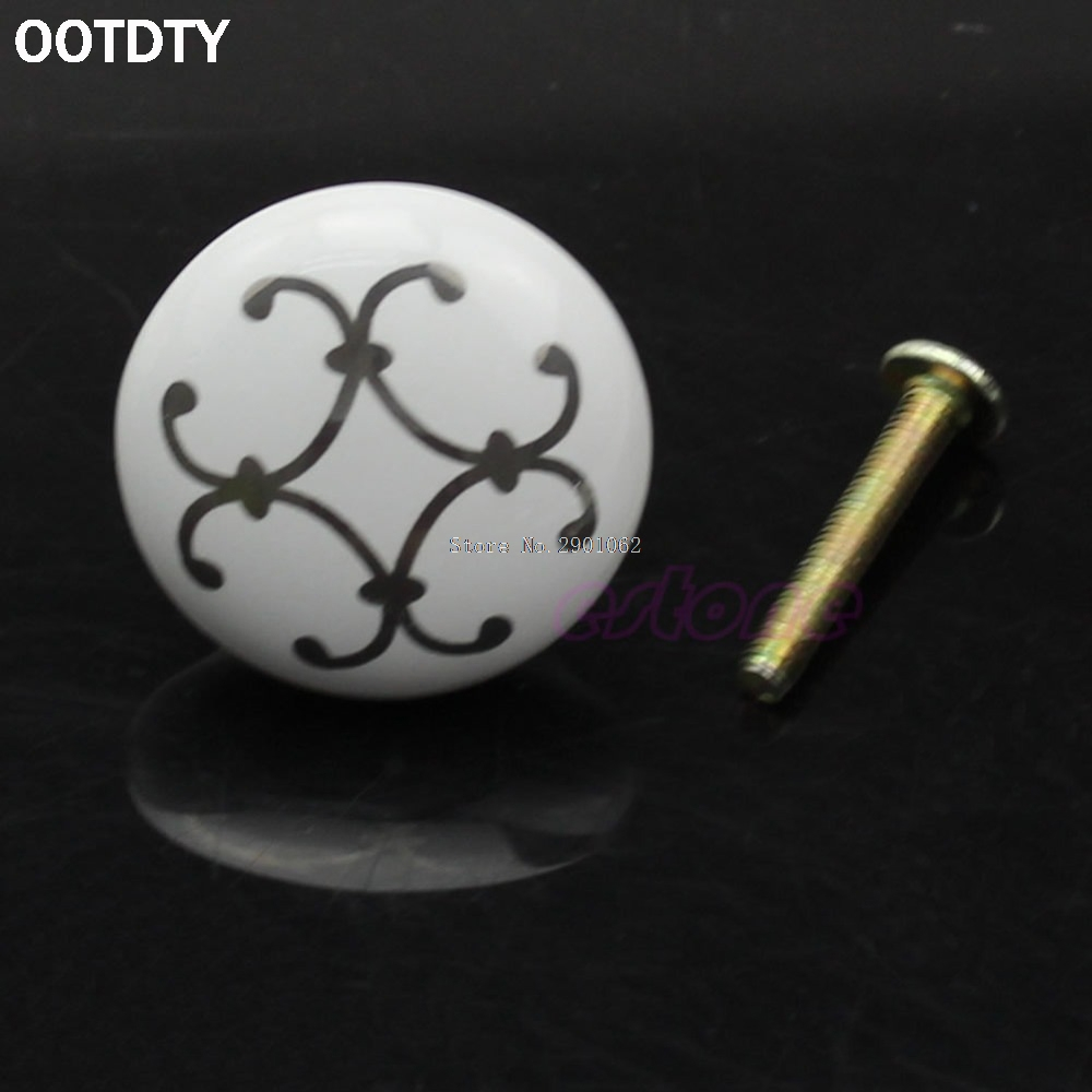 32*25mm(D*H) Silver Flower Ceramic Knob Cabinet Cupboard Wardrobe Drawer Door Handle Pull New -B119 multi color flower rose ceramic kitchen cupboard cabinet door knob kid s room wardrobe drawer pull handle knob