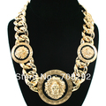 New Celebrity Style Vintage 3 Lion Head Statement Necklace with Twisted Link chain Chunky Necklace