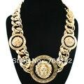Nuevo Estilo de La Celebridad de La Vendimia 3 Declaración Lion Head Collar con la cadena Twisted Enlace Chunky Collar