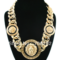 New Celebrity Style Vintage 3 Lion Head Statement Necklace With Twisted Link Chain Chunky Necklace Free