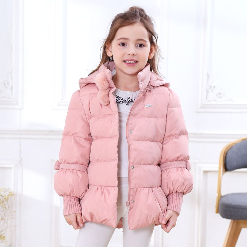 2018 Winter Warm Duck Down Jacket Thick Baby Child Girl Kids Hoody Long Outerwear Pink Parkas & Coat For Girls 100-160 cm 2017 winter women jacket new fashion thick warm medium long down cotton coat long sleeve slim big yards female parkas ladies269