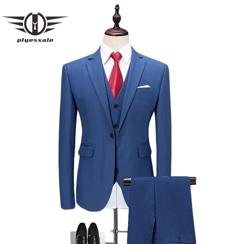 Plyesxale Azul Rojo gris púrpura blanco trajes de boda para hombres Slim Fit 3 unidades de negocios Formal traje de 5XL 6XL ropa de marca Q496