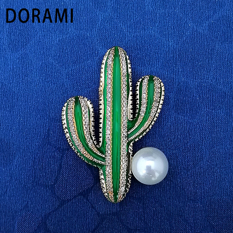 DORAMI Lovely Cactus Brooches for women Dance Dress Style Hot selling High quality Birthday present Fine Jewelry for gift