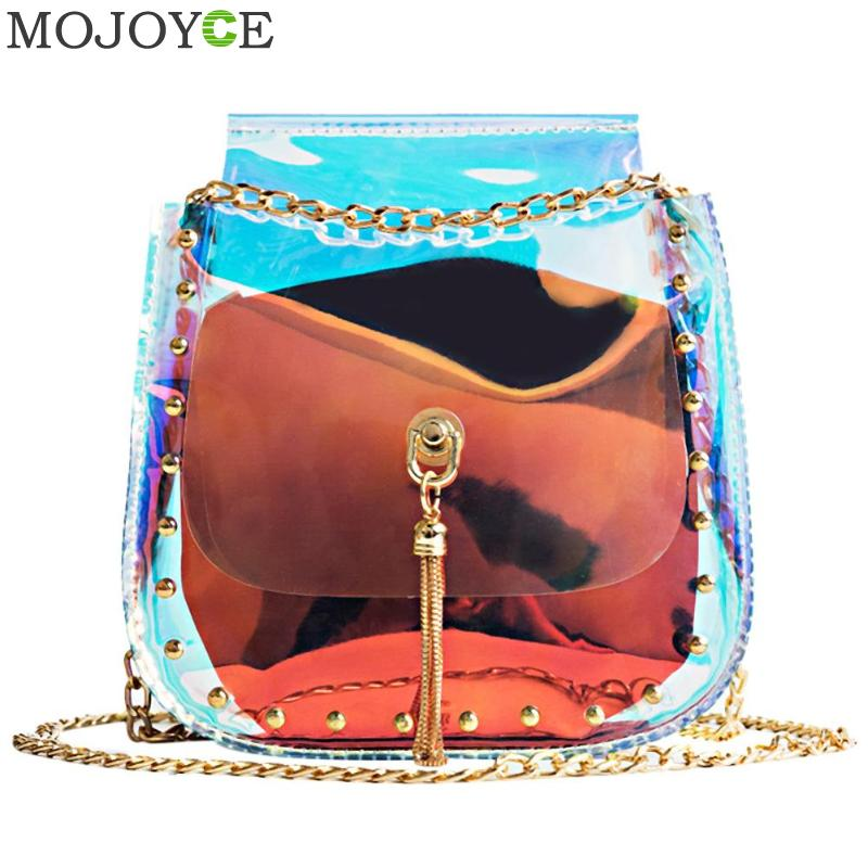 Clear Women Bucket Bag PVC Party Chain Shoulder Bag Tassel Brand Hologram Laser Clear Tassels Handbag Jelly Transparent Totes