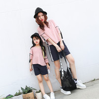 Mom And Daughter Matching Clothess 2017 Summer Family Matching Outfits Mom Mum And Daughter Fashion T