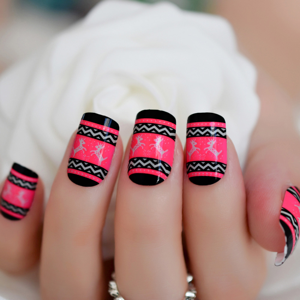 Christmas Acrylic Nails.Us 1 43 15 Off Square Rose Red Designed False Nails With Deer For Christmas Short Artificial Acrylic Nail Art Salon Tips Product In False Nails From