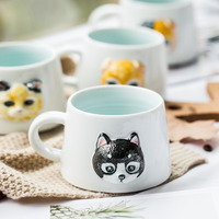 Fun 3D cat head ceramic coffee cup Simple and cute cartoon pet dog ceramic mug