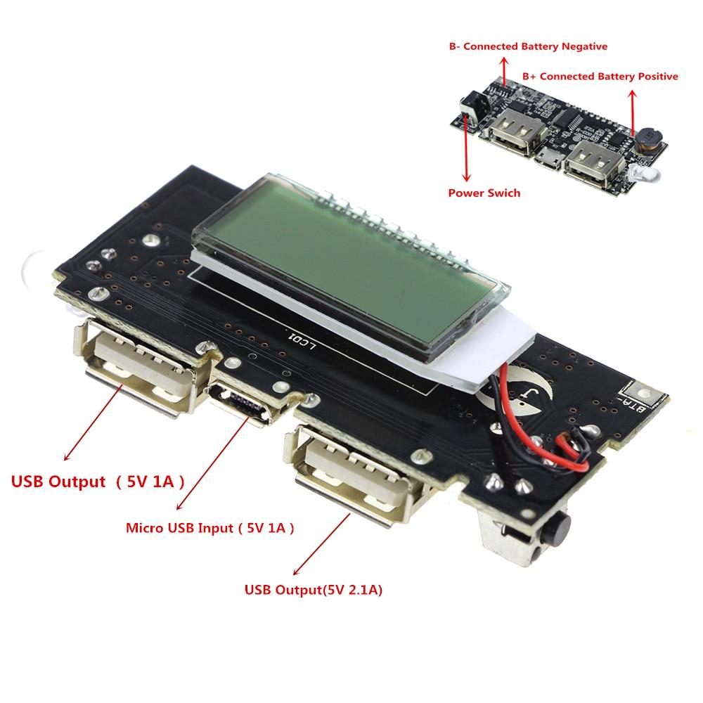 Dual USB 18650 Зарядное устройство pcb модуль питания 5 В 1A 2.1A Mobile Power Bank Аксессуары для телефонов DIY LED ЖК-модуль доска