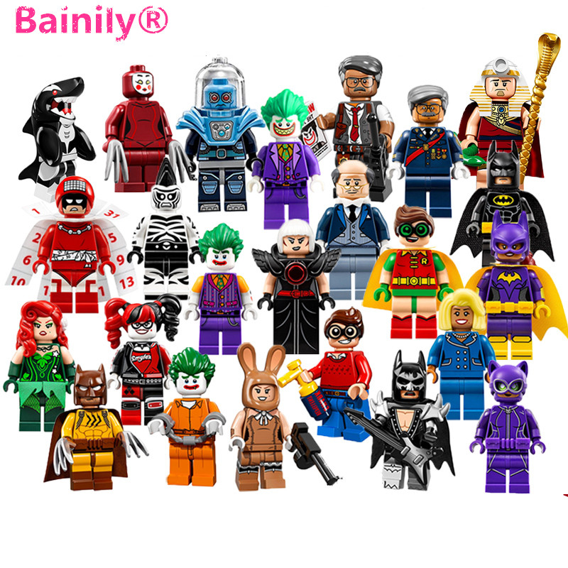 [Bainily]1pcs Batman Movie Set Joker Harley Quinn Robin DIY Figures Building Block Bricks Toy Compatible With LegoINGly Batman batman super heroes mini avenger figures villains joker beetle black manta movie building block toy compatible with legoe pg080