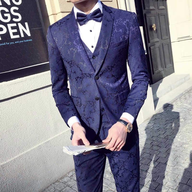dd3f5a87da3 Black Navy Blue Green Jacquard Suit Men Slim Fit Mens Wedding Suits Dinner  Banquet Prom Suits