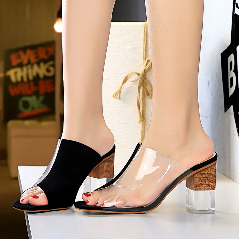 Women high heeled slippers Korean fashion color matching crystal with suede transparent stitching hollow fish mouth ladies shoes in Slippers from Shoes