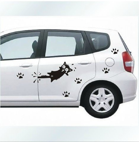 free shipping cartoon cat car decal sticker auto decals. Black Bedroom Furniture Sets. Home Design Ideas