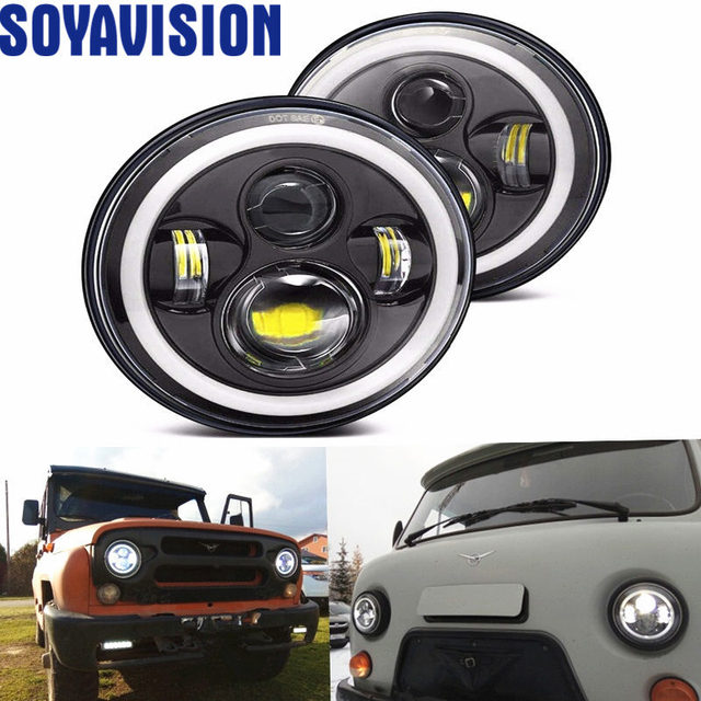 Para Nissan patrulla Y60 Hummer H1 y H2 Lada 4X4 7 pulgadas LED faro DRL para Jeep Wrangler TJ JK LJ CJ 7 pulgadas para Land Rover Defender