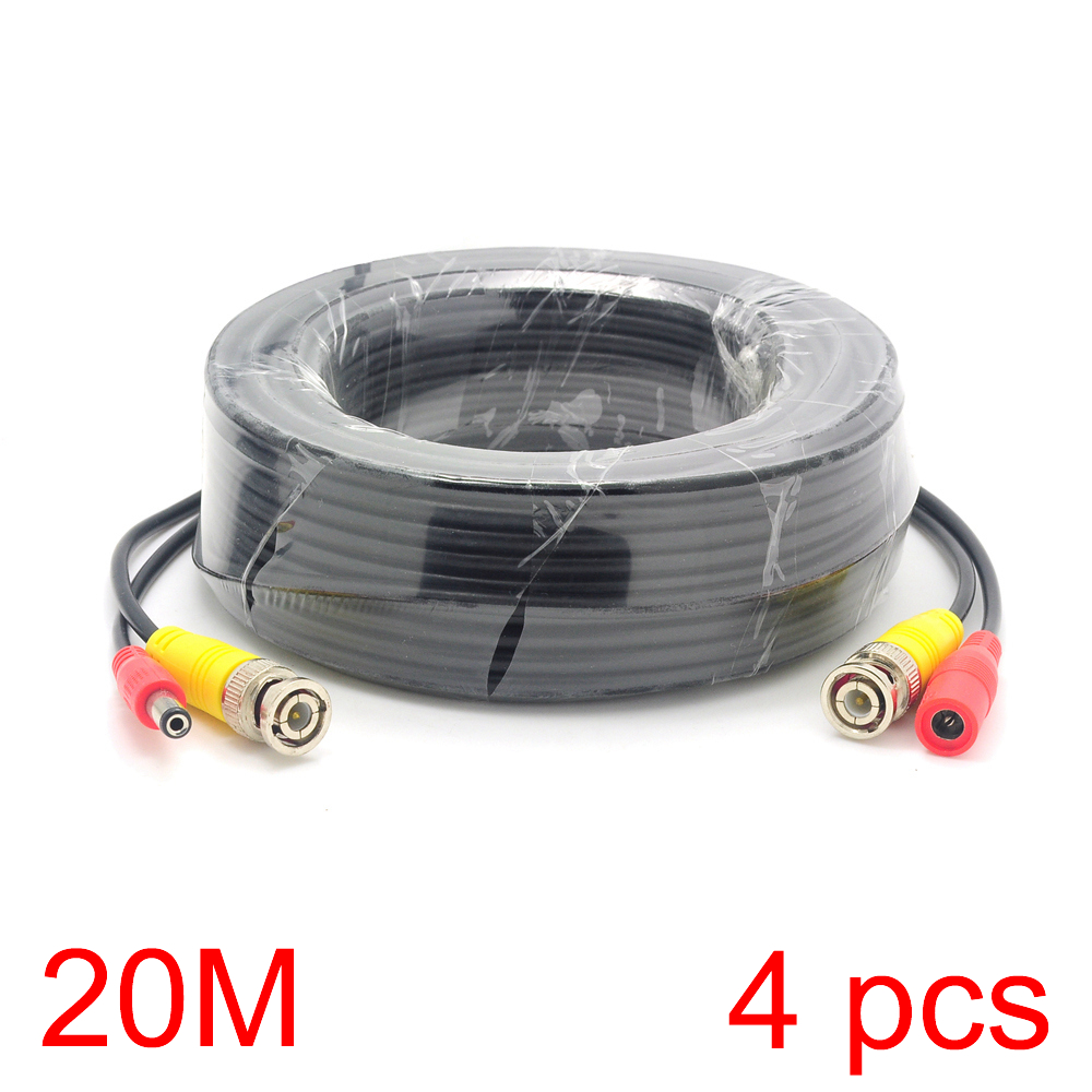 4x 20M/65FT BNC DC Connector Power Audio Video AV Wire Cable For CCTV Camera