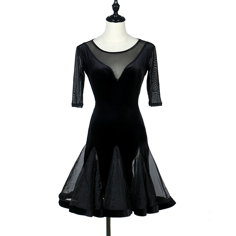 Latin Dance Dress Black Sexy V Neck Ballroom Dancing Dresses For Women Standard Professional Adult Stage Rumba Latina Dresses
