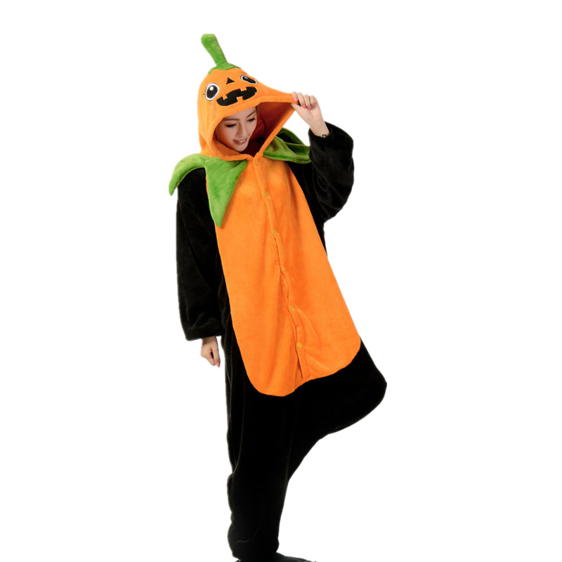 Adult Flannel Kigurumi Pumpkin Cosplay Costume Unisex Onesies Pajamas Halloween Carnival Masquerade Party Jumpsuit