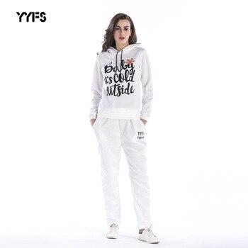 6aecd5cd Survetement Femme комплект из 2 предметов, женская одежда 2018, осенне- зимний женский спортивный костюм, толстовка с длинными рукавами, штаны,  Conjuntos .