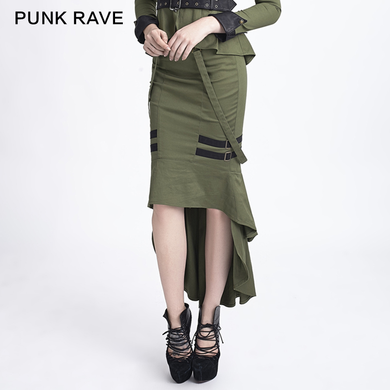 Steampunk Punk military style Fashion Womens Sexy fishtail Gothic Skirt 2 color Q276