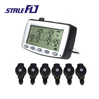 Auto Truck TPMS Car Wireless Tire Pressure Monitoring System+6 Replaceable Battery External Sensors LCD Display F30