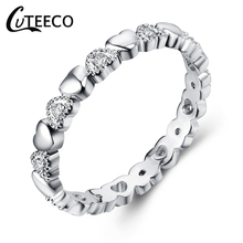 CUTEECO Genuine Silver Stackable Ring Love Heart CZ Finger Brand Rings for Women Wedding Anniversary Jewelry