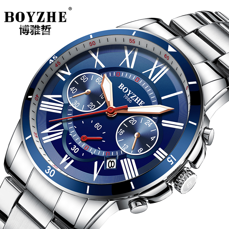 BOYZHE Mens Watches Quartz Watches Stainless Steel Date Feature Waterproof Sports Casual Wrist Watches Roman Dial numerals стоимость