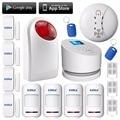 IOS andorid APP Wifi GSM PSTN line telephone Outdoor flash siren fire smoke detector RFID alarm KERUI Wireless wifi alarm system