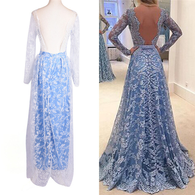 Women's Casual Solid New Sexy Dress Long Dress Lace Dress One-Piece Dress 2