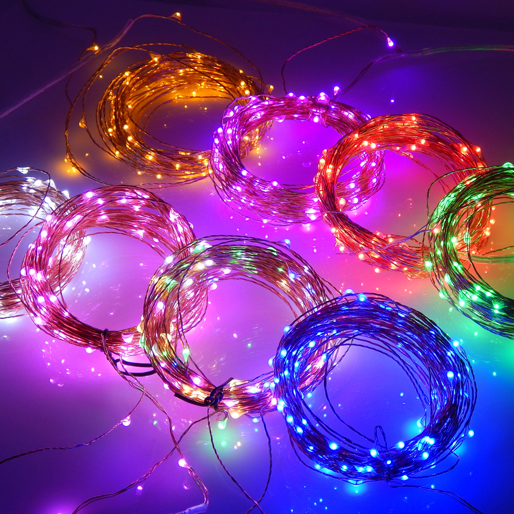 100M 10 Pack Connectable Series 3V 33ft 100LED Copper Wire Outdoor Lighting LED Colors light Christmas Starry String Lights