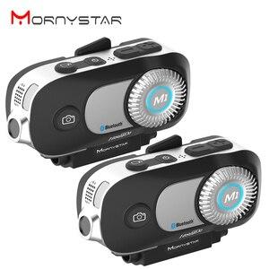 Image 1 - MORNYSTAR oreillette Bluetooth M1Pro, 2 pièces, appareil de communication pour 4 motocyclistes, interphone portée portée portée 800m, MP3, caméra enregistreur vidéo HD 1080P, kit mains libres