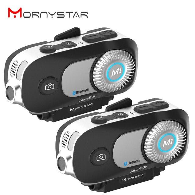 MORNYSTAR oreillette Bluetooth M1Pro, 2 pièces, appareil de communication pour 4 motocyclistes, interphone portée portée portée 800m, MP3, caméra enregistreur vidéo HD 1080P, kit mains libres
