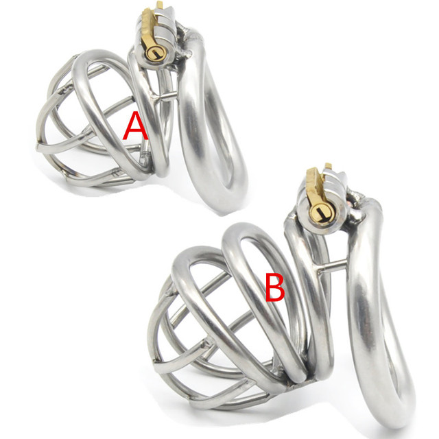Dispositif de chasteté masculine en acier inoxydable petite Cage Cage de chasteté en métal ceinture de chasteté ceinture de virginité anneau de pénis produits sexuels G170