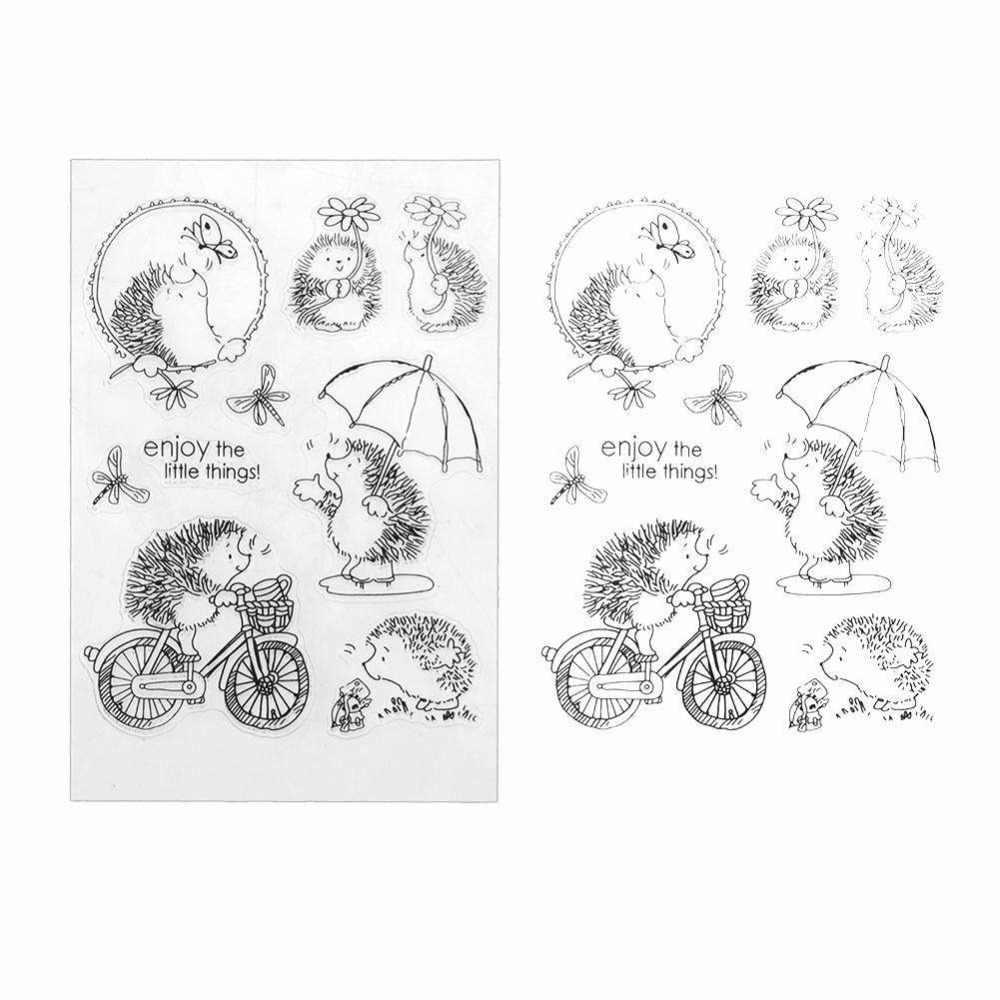 Silicone Trasparente Chiaro Riccio Scrapbook Stamp di Tenuta FAI DA TE In Rilievo Die Per Carta di Carta del Mestiere Che Fanno Gioco Divertente Libro Degli Animali Decorazione