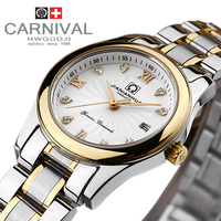 Carnival rhinestone dress gold fashion casual lovers full steel watch ladies diamond military diving sprots watches luxury brand