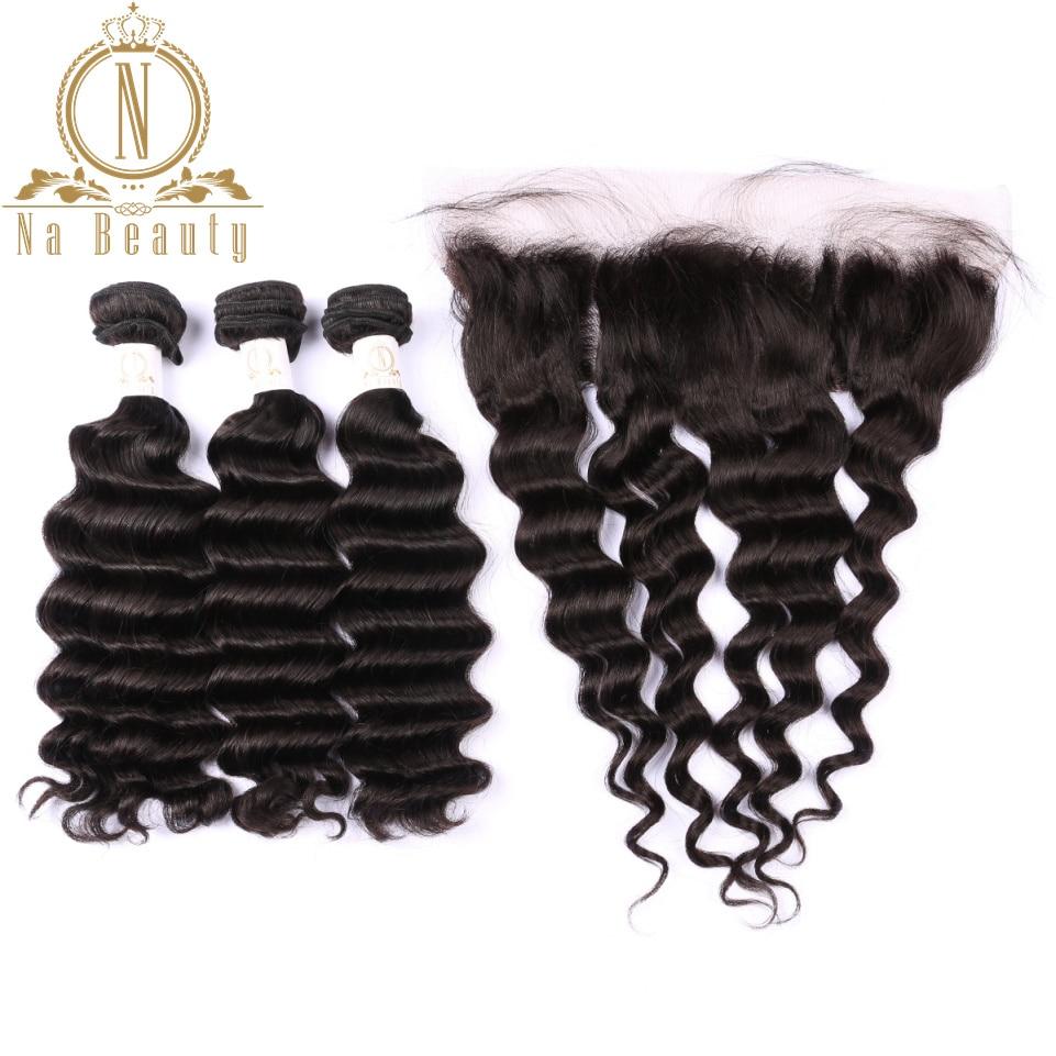 Бразильский человеческих волос Свободные глубокая волна 3 Комплект s с 13*4 застежка спереди кружева фронтальной Волосы remy Комплект предложе
