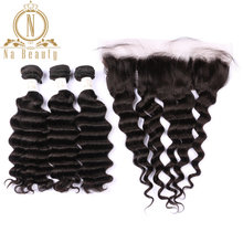 Brazilian Human Hair Loose Deep Wave 3 Bundles With 13*4 Closure Front Lace Frontal Remy Hair Bundle Deals Pre Plucked For Women(China)