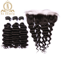 Brazilian Human Hair Loose Deep Wave 3 Bundles With 13*4 Closure Front Lace Frontal Remy Hair Bundle Deals Pre Plucked For Women