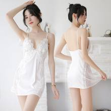 Sexy Ever Store Sexy House Sleepwear Cozy Nightgown Soft Lace Nightdress Women sexy Lingerie Deep V Sleepshirts With G pant(China)