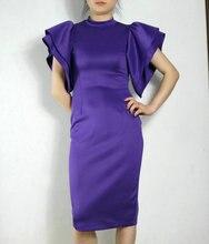 2016 Fashion Spring Summer slim A-Line Dress short butterfly sleeve mid-calf dress for ladies Custom dress Purple XXXL