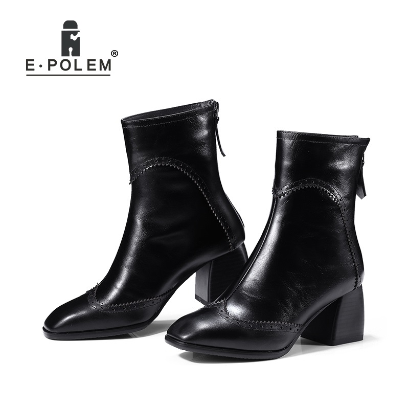 Fashion Quality Genuine Leather Women Short Ankle Boots Female Martin Boots Chelsea Boots Rear Zipper Oblique Pointed Toe new arrival superstar genuine leather chelsea boots women round toe solid thick heel runway model nude zipper mid calf boots l63