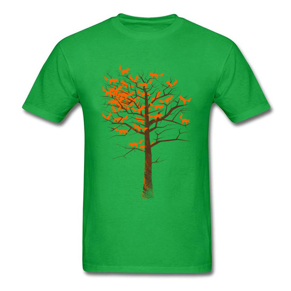 Men Tshirts Blazing Fox Tree T-shirt Fox Color Autumn T Shirt Creative Design Black Tops Tees Cartoon Clothes No Fade Printed