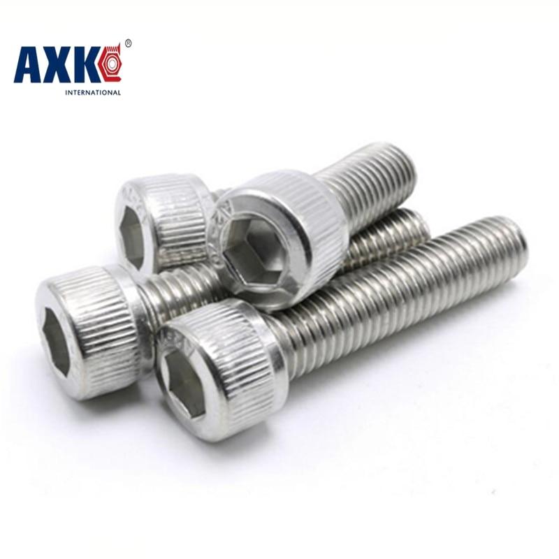 AXK 10PCS M10*1.25*20/25/30/35/40/50/60/70/80 m10 Stainless steel Fine thread hex hexagon socket cap head screw  pitch 1.25mm