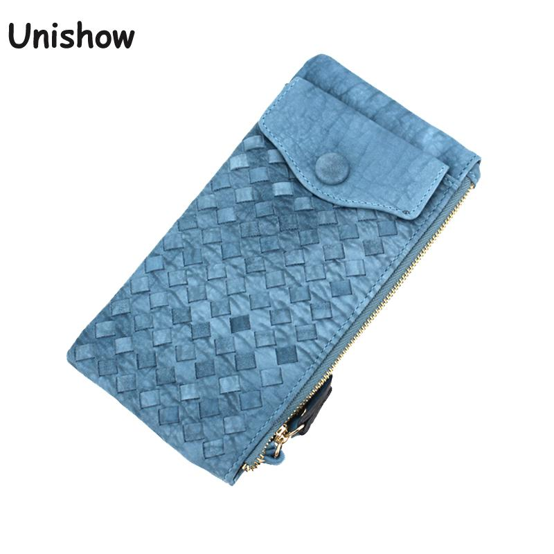 Unishow Wristband Strap Weave Women Wallet Brand Female Wallet Purse Long Women Phone Clutch Large Capacity Ladies Coin Purse unishow long women wallet envelope women purse clutch pu leather ladies wallet simple female purse coin card holders
